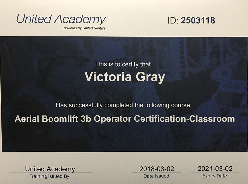 Victoria Gray - Aerial Boomlift 3b Operator Certificate