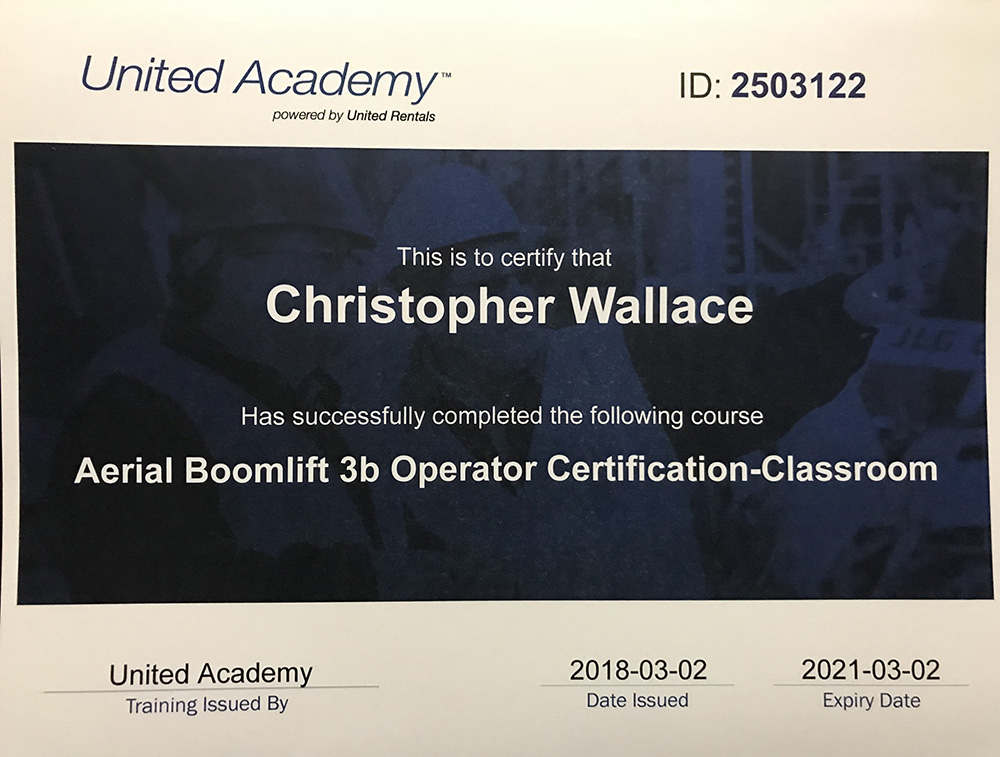 Christopher Wallace - Aerial Boomlift 3b Operator Certificate